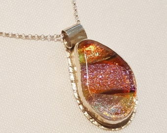 Pink and Coral Glass Pendant with Fine Silver Bezel - Cyberlily