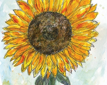 Sunflower Art Print: Watercolor with Pen and Ink / Wall Art Print / Illustration / Drawing / Painting