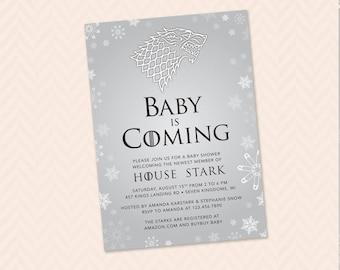 Baby is Coming Game of Thrones Inspired Baby Shower Invitation - Stark, Direwolf, GOT, Winter