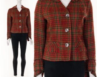 Retro 50s RED Plaid Tweed Cropped Jacket Long Sculptural Sleeves Red Plaid Jacket Retro Jacket Pin UP Jacket Mod Jacket Small Medium