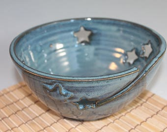 Blue yarn bowl - Yarn Organizer - knitting bowl - Star cutouts - starry night sky