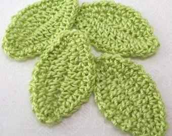 Crochet Green Leave Appliques - Wasabi