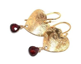 Womans Gold Vermeil, garnet, earrings, heart shaped, boho, elegant, stylish, handmade, dangle, red, womans, gift for her - Free shipping