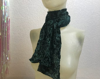 Vintage 1980s Forest Green Floral Crushed Velvet Silk and Rayon Scarf