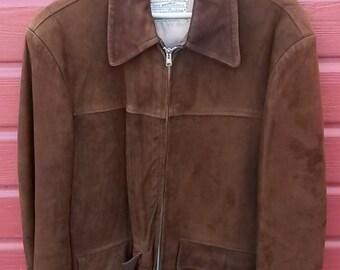 1950s Suede Leather Men's Jacket  MEDIUM/LARGE