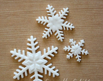12pc Snowflake Fondant Cake Decoration 'Frozen' theme Cake Topper Winter Wonderland