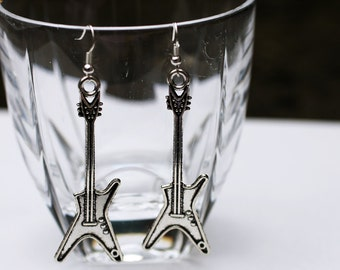 Chunky Silver Guitar Earrings