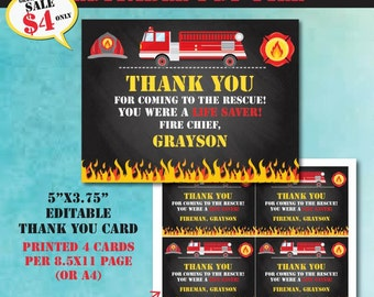 Fireman Birthday Thank You Card-Firetruck Birthday Thank You Card-Editable PDF File-Fireman Party-Firetruck Party-First Birthday Party