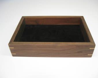 Wood Valet Tray, Valet Box made from Black Walnut with Maple splines  #205