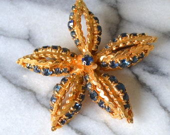 Quality Vintage Brooch - Bright Gold Tone Metal Fitting set with Sapphire Blue Diamanté Rhinestones 5 Point Star or Flower Shape Gift Boxed