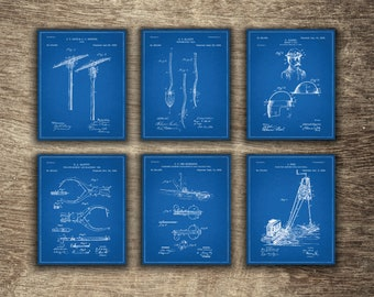 Mining Set of 6 Blueprints, Mining Poster, Mining Printable, Gift for Miner, Mining Group of 6 Patents - INSTANT DOWNLOAD -