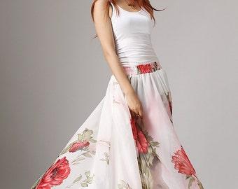 floral maxi skirt, princess skirt, flower print skirt, long chiffon skirt with elastic waist, elegant skirt, boho skirt, summer skirt (1051)