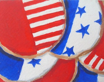 AMERICAN FLAG Cookies * ACEO Mini Painting * Small Art Format by Rodriguez