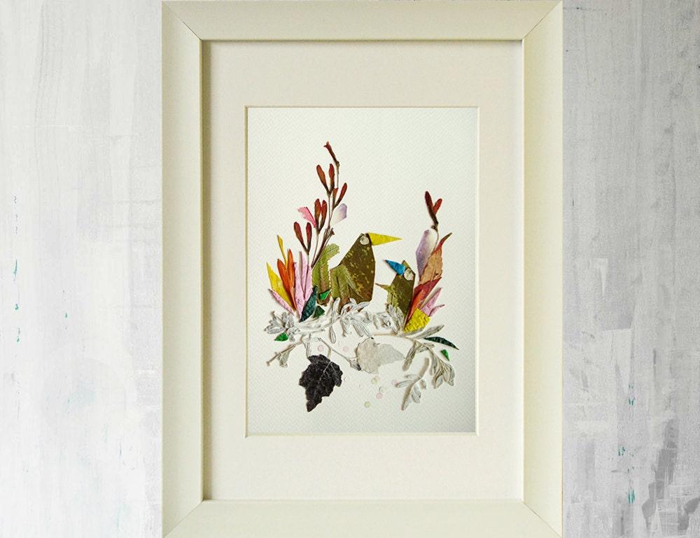 Pájaro impresiones flores secas impresión de la Ave arte