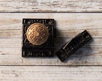 Antique Brass Metal Door Cabinet 2 Part Latch Hardware Turn Style Knob Latch Furniture Restoration, Home Improvement