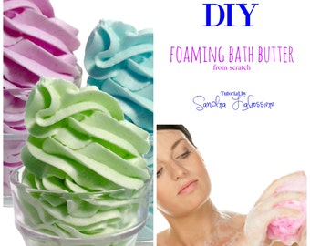 DIY - From Scratch - Foaming Bath Butter Base  pdf E-book -Bonus Formula -  Marshmallow Cream Body Wash Cubes
