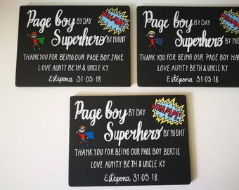 Page boy personalised gift board, personalised gift, superhero page boy gift, personalised flower girl gift, personalised gift board