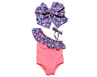 Baby girl vintage orange romper   Ruffles sunsuit   One piece swim suit   Girls vintage bathing suit   Playsuit baby girl   Swimsuit ruffles