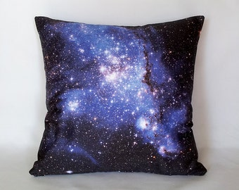 Blue Galaxy Pillow - NASA Hubble Outer Space Photo on Fabric, Science Photo Pillow