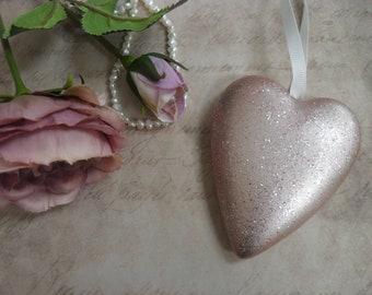 Ceramic Rose Gold Glittered Heart, Bedroom Hanger, Door Decor, Home Accent, Gift