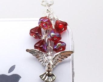 Hummingbird Dust Plug - Bright Ruby Red Flowers, Woodland Headphone Jack Charm, Silver Plated Pewter Bird Charm, Czech Glass Beads