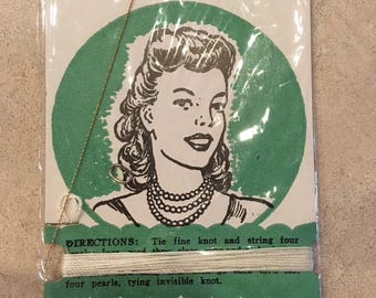 Vintage New Old Stock 1940's Nylon Restringing Outfit for Fine Pearl Necklaces - Excellent Condition! Jewelry Making - Beading - Crafting