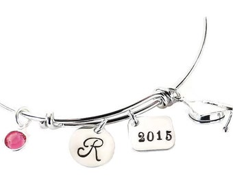 2018 Graduation Initial Charm Bangle, Graduation Bangle, Class of 2018, Graduation Jewelry Gift Graduation Bracelet, Custom Graduation Gift