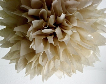 SAND tissue paper pompom / rustic barn woodland forest wedding decorations / autumn fall baby shower decor / neutral taupe tan nursery poms
