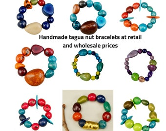Wholesale tagua bracelets, tagua jewelry, tagua nut, organic jewelry, bracelets lot, jewelry making, statement bracelets, handmade jewelry