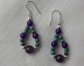 Amethyst &Turquoise Gemstone Earrings