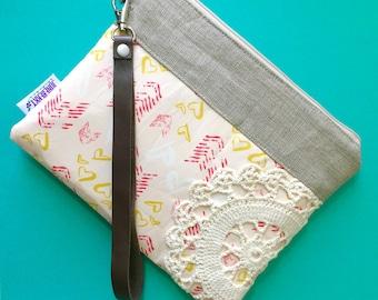 Ready to Ship - Boho Valentines Wristlet Vintage Lace