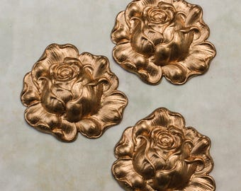 "Rose Brass Stamping 1.5"" Floral Pattern"