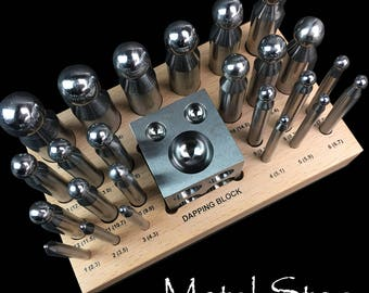 Set of 24 Premium Dapping punches and Steel Doming Block for doming metal