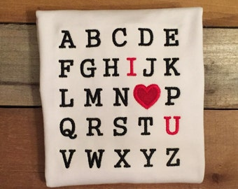 Valentine day shirt, typewriter alphabet valentine shirt, alphabet  I love you shirt, alphabet I love you valentine shirt, valentine's day