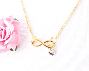 Gold Infinity Necklace, gold Infinity Heart Pendant, Love Jewelry, Wedding Jewelry, Anniversary Gift, Bridal Party Gift, infinity jewellery