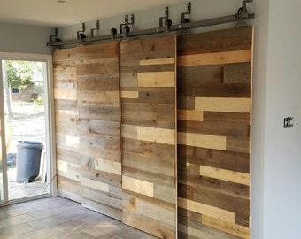 Custom Sliding Barn Door,  Reclaimed stacked pattern