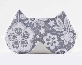 Gray Sleep Mask, Lacy Lingerie, Cat Lover Gift, Night Mask, Girlfriend Gift, Floral Lace Mask, Slumber Party Favors, Travel Gifts for Women