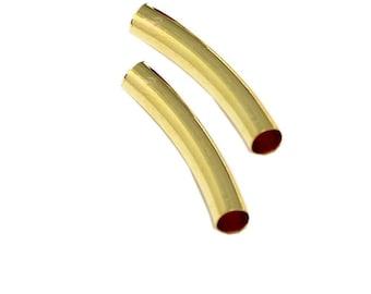 CTU035-gold tube beads 2pcs curved gold metal 35 x 5.5 mm