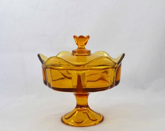 Viking Divided Compote With Lid, Vintage Amber Six Petal Glass Divided Compote With Cover