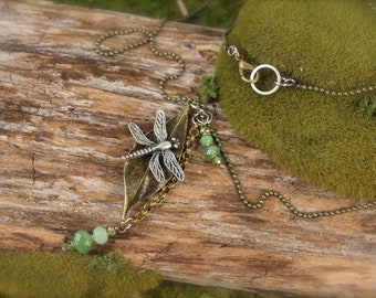 Dragonfly Green Leaf Nature Charm Necklace