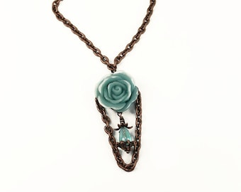 Vintage Inspired Turquoise Blue Rose & Copper Necklace