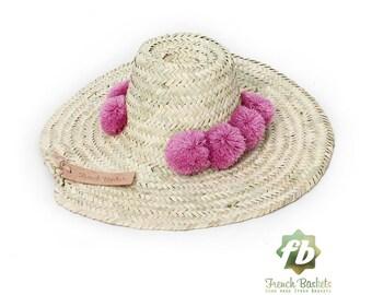 Straw Hats pompom raspberry : French Basket straw Hats  straw hat men  straw hat women  sun hat  beach hat straw hat straw hat hat pom pom