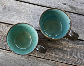 Turquoise & Brown Mug Coffee Cup Tea Cup Soup Mug 12ounce