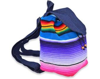 Handmade Mini Backpack From Serape Mexican Blanket