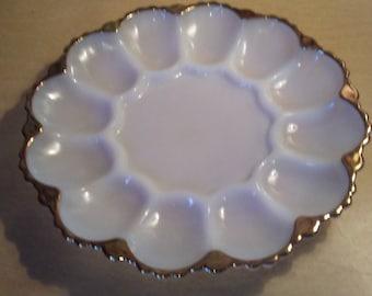 Fireking Anchor Hocking milkglass gold trim egg plate tray platter