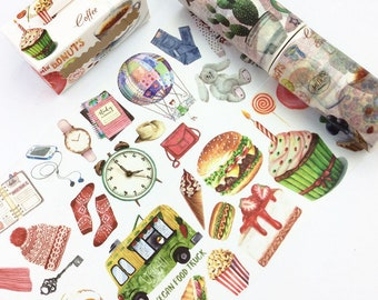 Washi Tape, Food Washi Tape, Candlestick Washi Tape, Bookcase Washi Tape