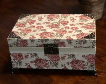 "Decorative Wedding Box, Vintage Card holder, Wishing Well Box, Jewelry Box, Card Box 11.75"" x 7.75"" x 4.75"""