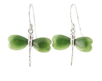 Canadian Nephrite Jade Dragonfly Earrings, 0736