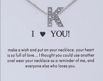 Initial K personlised crystal necklace with chain gift for her