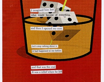one of a kind collage poem - analog collage -- it was a relief.